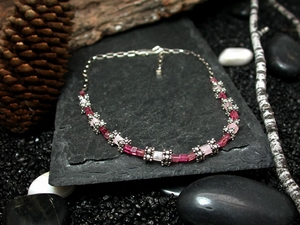 Pink Tourmaline, Rose Quartz & Bali Silver Necklace
