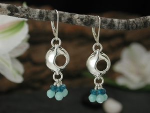 Pod Chandelier Earrings with Amazonite & Apatite