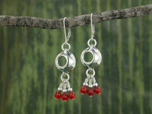 Pod Chandelier Earrings<BR>with Carnelian