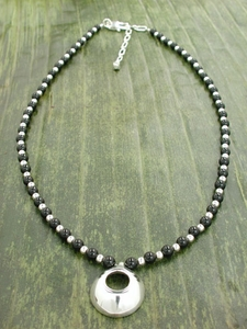 Pod Pendant Necklace with Black Onyx