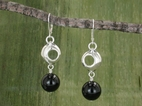 Pod Planet Earrings<BR>with Black Onyx