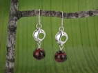 Pod Planet Earrings<BR>with Red Tiger Eye