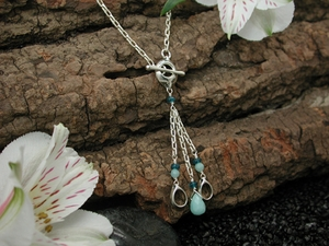 Pod Rain Wraparound Necklace with Amazonite & Apatite