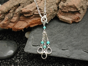 Pod Rain Wraparound Necklace with Turquoise