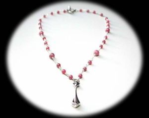 Pyramid Drop Necklace<BR>with Rhodonite