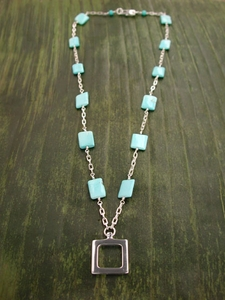Simple Square Necklace with Chiclet Turquoise