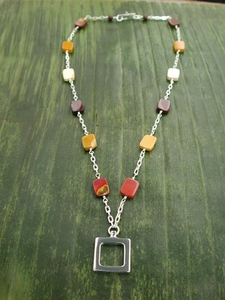 Simple Square Necklace with Mookaite