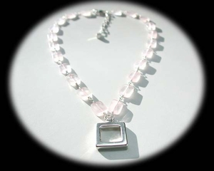 Simple Square Necklace<BR>with Pink Quartz