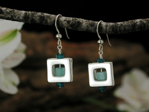 Square 47 Earrings with Amazonite & Apatite
