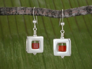 Square 47 Earrings with Carnelian