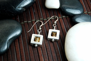 Square 47 Earrings with Citrine