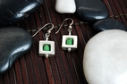 Square 47 Earrings with Green Chalcedony