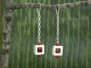 Square 47 Free Fall Earrings with Carnelian