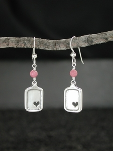 Sweet Heart Earrings with Rhodonite