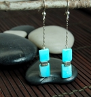 Vertebra Chiclet Drop Earrings<BR>with Turquoise