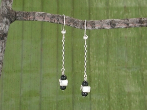 Vertebra Drop Earrings with Black Onyx