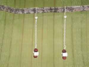 Vertebra Drop Earrings<BR>with Red Tiger Eye