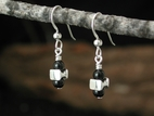 Vertebra Earrings with Black Onyx