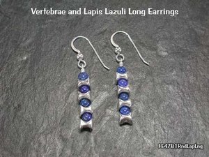 Vertebrae and Lapis<BR>Long Earrings