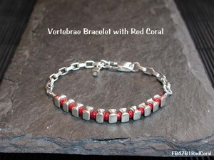 Vertebrae Bracelet<BR>with Red Coral