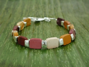 Vertebrae Chiclet Bracelet with Mookaite