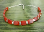Vertebrae Chiclet Necklace with Carnelian
