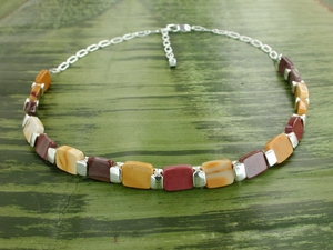 Vertebrae Chiclet Necklace with Mookaite
