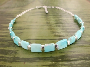 Vertebrae Chiclet Necklace with Turquoise