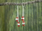 Vertebrae Double Drop Earrings<BR>with Carnelian