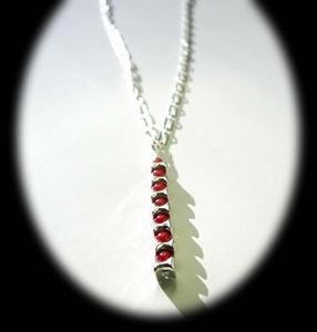 Vertebrae Drop Necklace<BR>with Red Coral