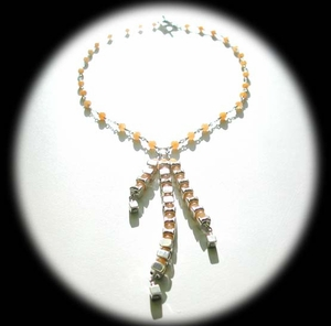 Vertebrae Tri Drop Wirework<BR>Necklace with Yellow Jade