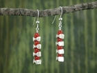 Vertical Vertebrae Earrings<BR>with Carnelian