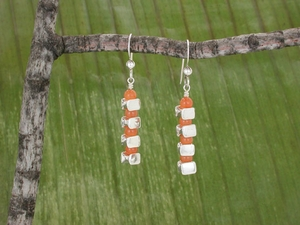 Vertical Vertebrae Earrings<BR>with Red Aventurine