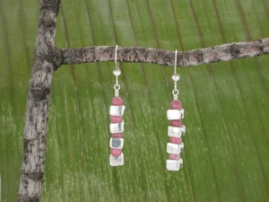 Vertical Vertebrae Earrings with Rhodonite