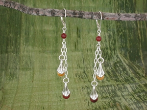 Vine Berry Double Drop Earrings<BR>with Mookaite