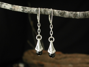 Vine Berry Earrings<BR>with Black Onyx