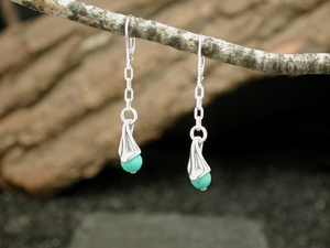 Vine Berry Earrings<BR>with Turquoise