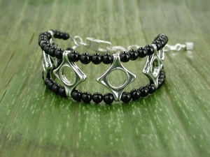 Wave Crest Bracelet with Black Onyx