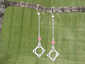 Wave Drop Earrings<BR>with Rhodonite