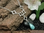 Wave Y Necklace with Amazonite & Apatite
