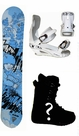 154cm  Black Fire Scoop men  Snowboard Package, U Build It