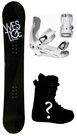 154cm  Westige Silver-Wave  Mens Snowboard Package, U Build It