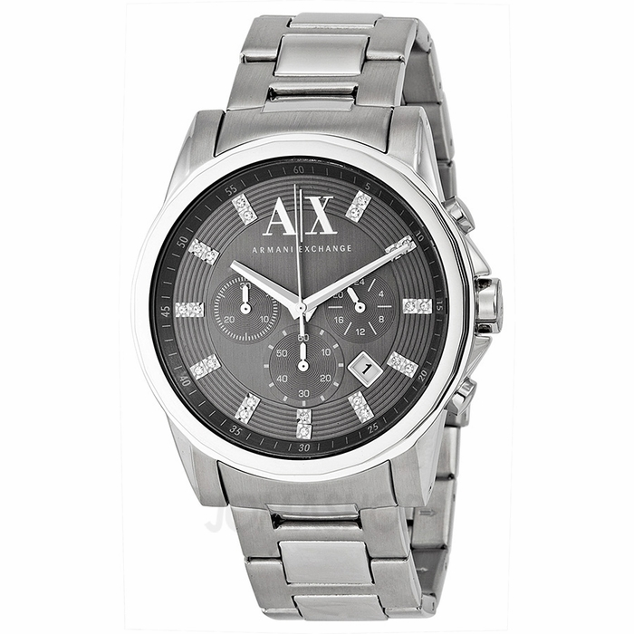 armani ax exchange chronograph grey stainless steel