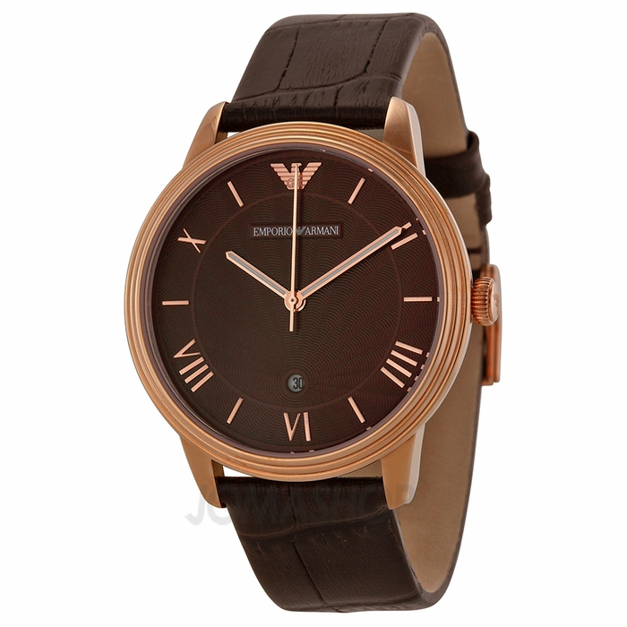 armani classic chronograph brown brown leather