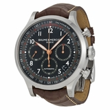 Baume and Mercier Capeland Black Dial Brown Alligator Leather Mens Watch 10067