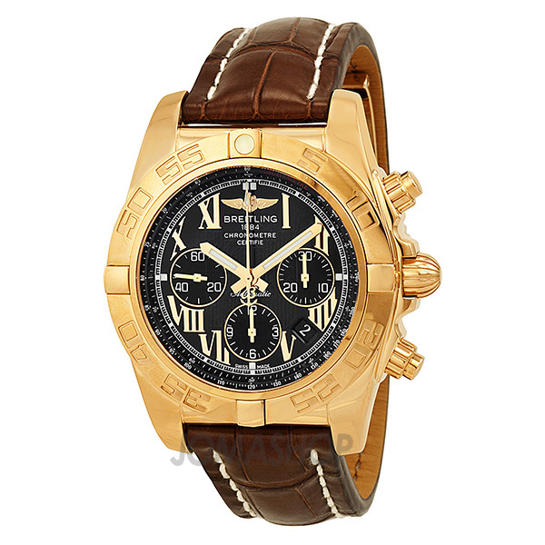breitling chronomat black 18kt gold s
