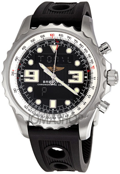 breitling chronospace black digital analog mens