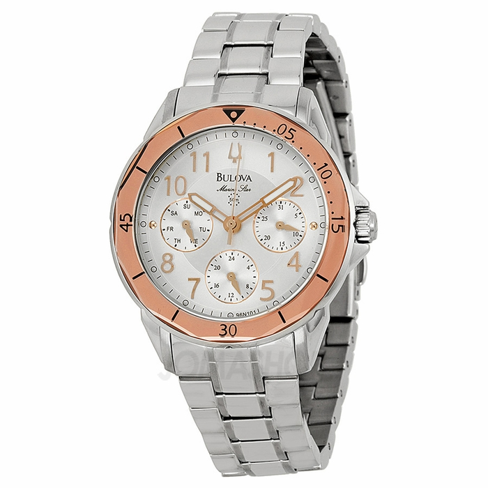Bulova Marine Star Silver Dial Two Tone Stainless Steel Ladies Watch