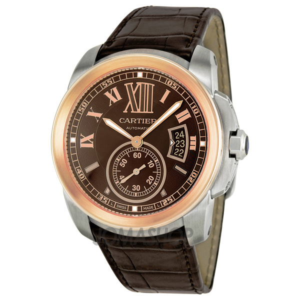 cartier calibre de cartier brown pink gold bezel