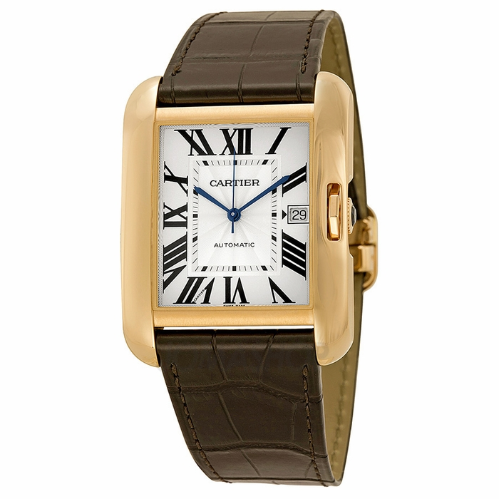 cartier tank anglaise silver 18kt gold brown